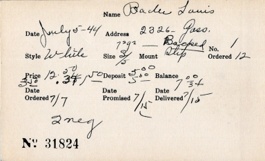 Index card for Louis Ba[illegible]
