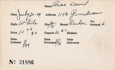Index card for David Arao [?]