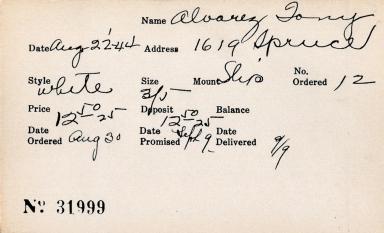 Index card for Tony Alvarez