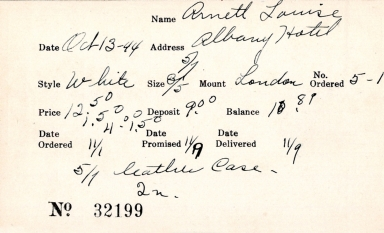 Index card for Louise Arnett
