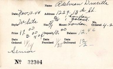 Index card for Drucilla Adelman