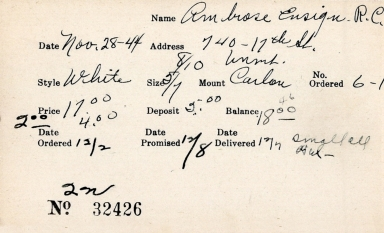Index card for R. C. Ambrose