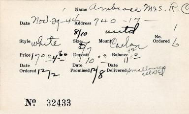 Index card for Mrs. R. C. Ambrose