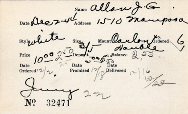 Index card for J. G. Allan
