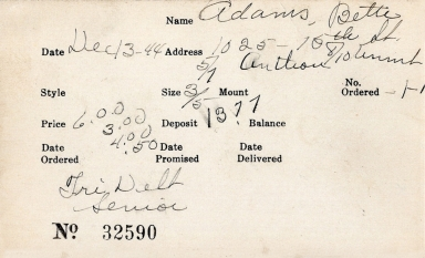 Index card for Bette Adams