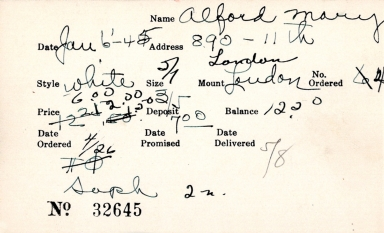 Index card for Mary Alford
