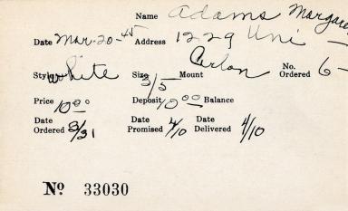 Index card for Margaret Adams