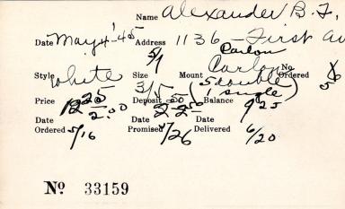Index card for B. F. Alexander