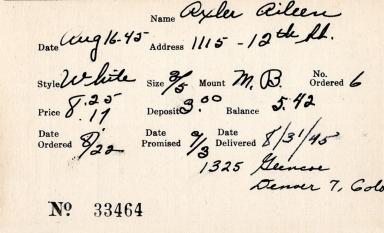 Index card for Aileen Axler