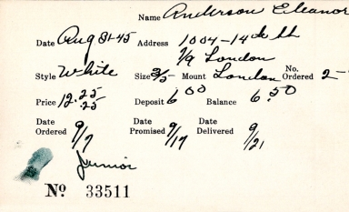 Index card for Eleanor Anderson