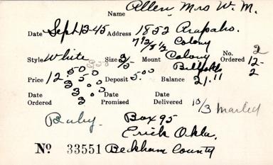 Index card for Mrs. W. M. Allen