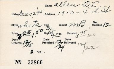 Index card for D. L. Allen