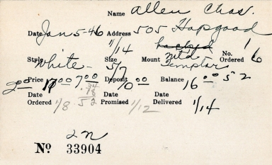 Index card for Charles Allen