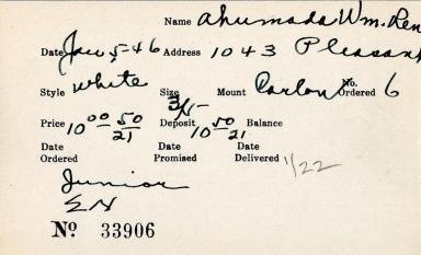 Index card for William R. Ahumada