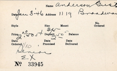 Index card for Gust[illegible] Anderson