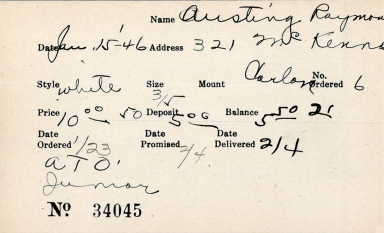 Index card for Raymond Austing