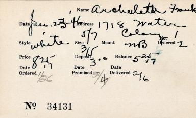 Index card for Frank Archuleta