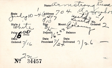 Index card for Russe Armstrong