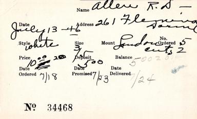 Index card for R. D. Allen