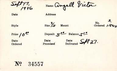 Index card for Victor Angell