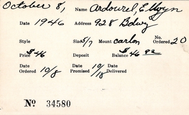 Index card for Ellyn [?] Ardourel