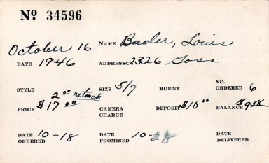 Index card for Louis Bader