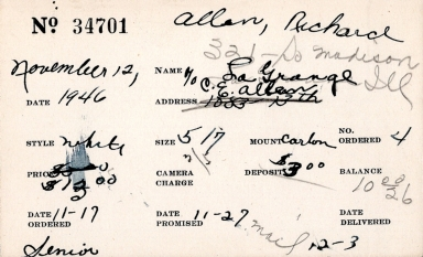 Index card for Richard Allen