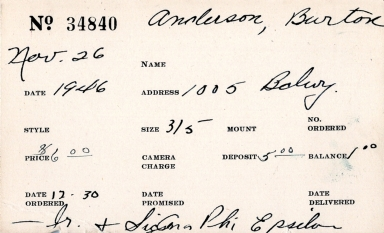Index card for Burton Anderson