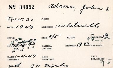 Index card for John S. Adams