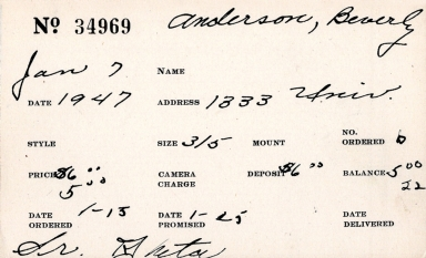 Index card for Beverly Anderson