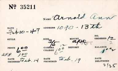 Index card for Ann Arnold