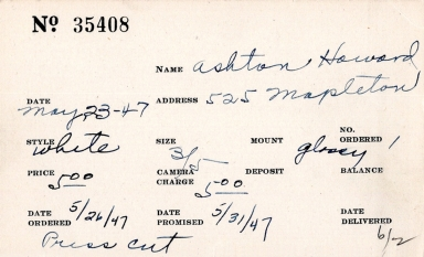 Index card for Howard Ashton