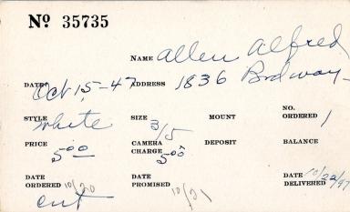 Index card for Alfred Allen