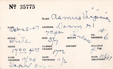 Index card for Virginia Asmus