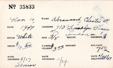 Index card for Chester P. Abrassart