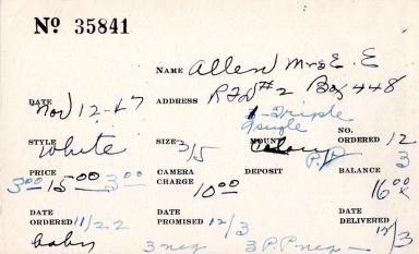 Index card for Mrs. E. E. Allen