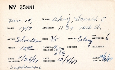 Index card for Donald E. Akey