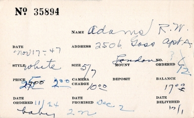 Index card for R. W. Adams