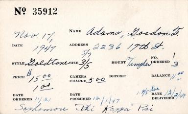 Index card for Gordon T. Adams