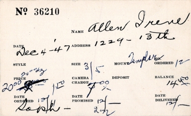 Index card for Irene Allen