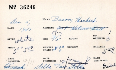 Index card for Herbert Bacon