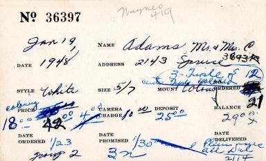 Index card for C. Adams and Mrs. C. Adams