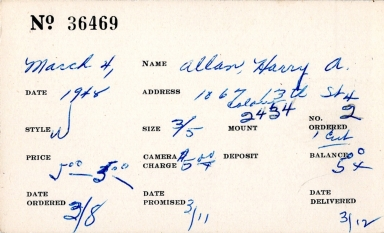 Index card for Harry A. Allan