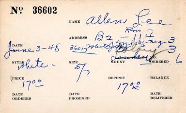 Index card for Lee Allen