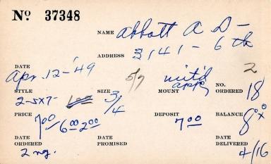 Index card for A. D. Abbott