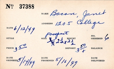 Index card for Janet Bacon