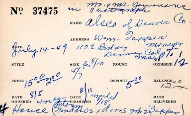 Index card for Alsco of Denver Co.