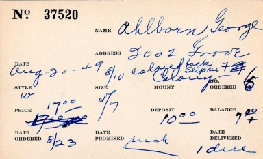 Index card for George Ahlborn