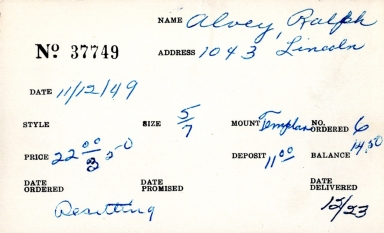 Index card for Ralph Alvey