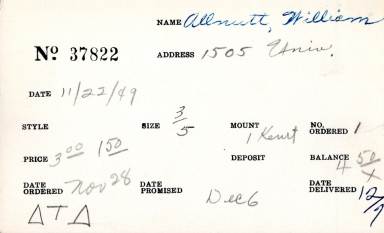 Index card for William Allnutt